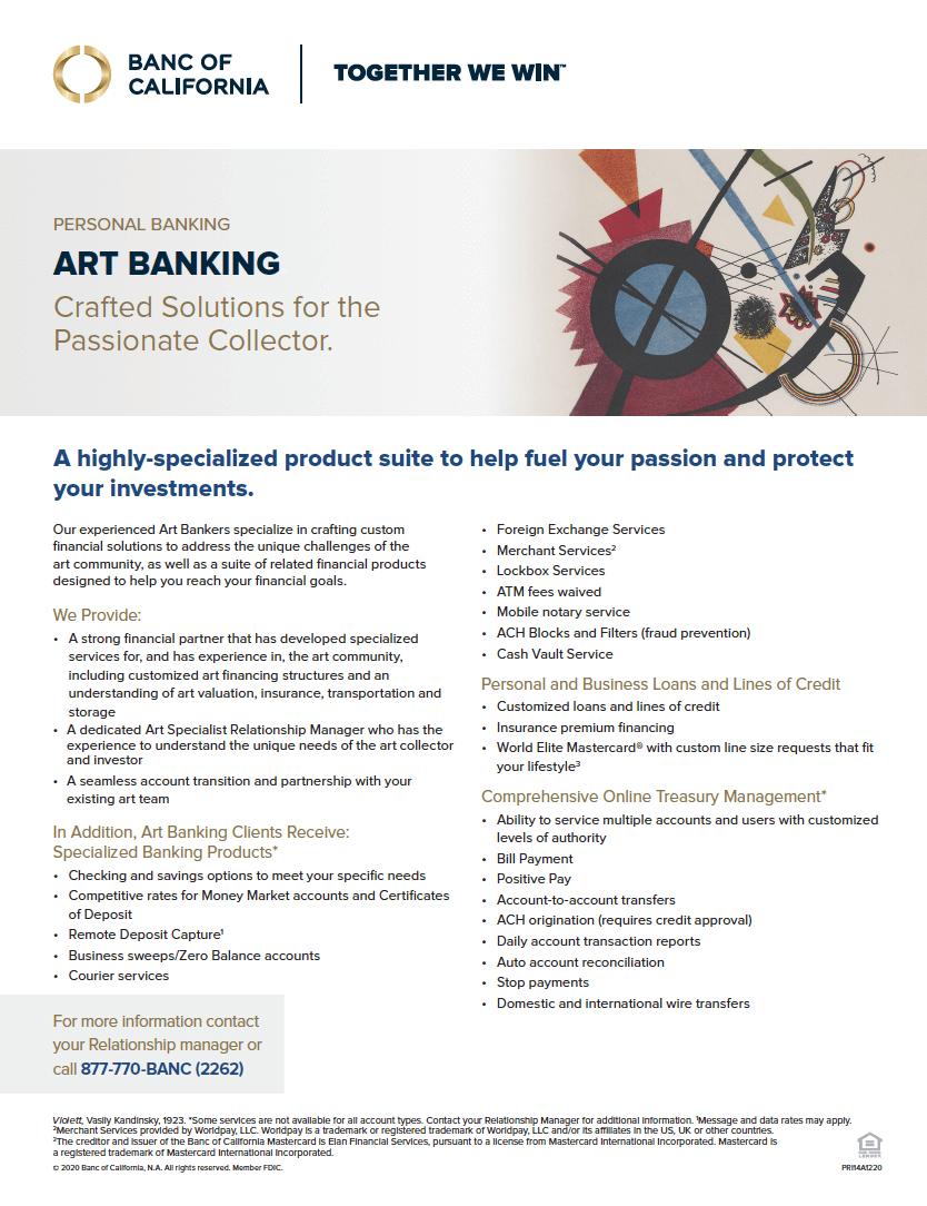 Banc of California Arts Banking Product Sheet