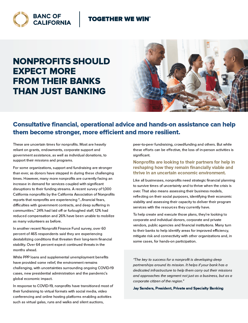 Banc of California Nonprofit Banking Product Sheet