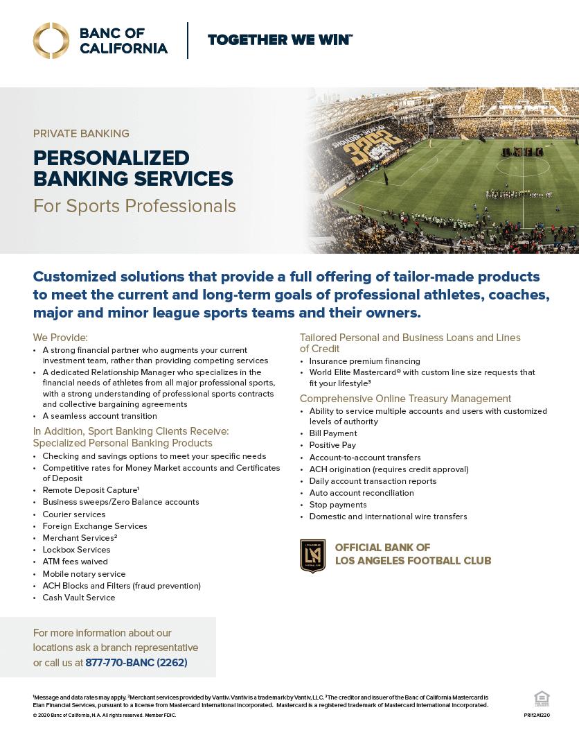 Banc of California Sports Banking Product Sheet