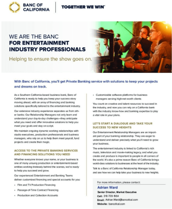Banc of California Entertainment Banking Product Sheet