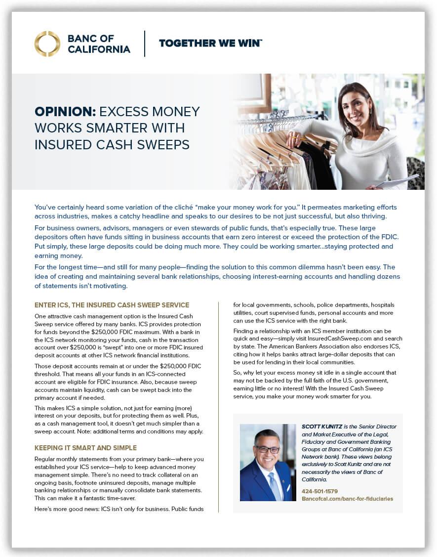 Banc of California Insured Cash Sweeps Article